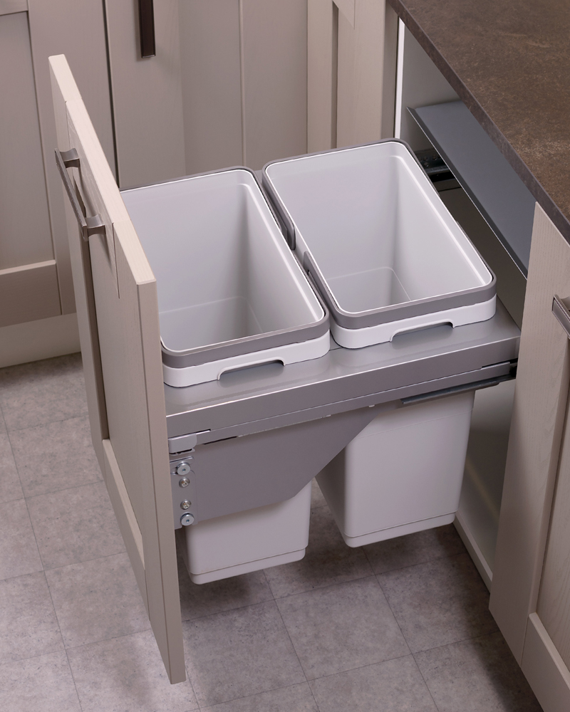 500mm waste bin, 2 compartment