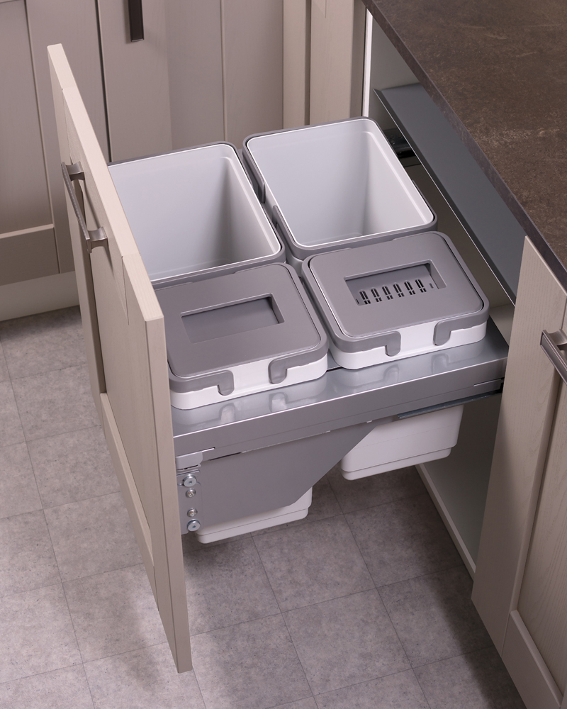 600mm waste bin, 4 compartment