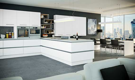 image of a gloss white, true handleless kitchen